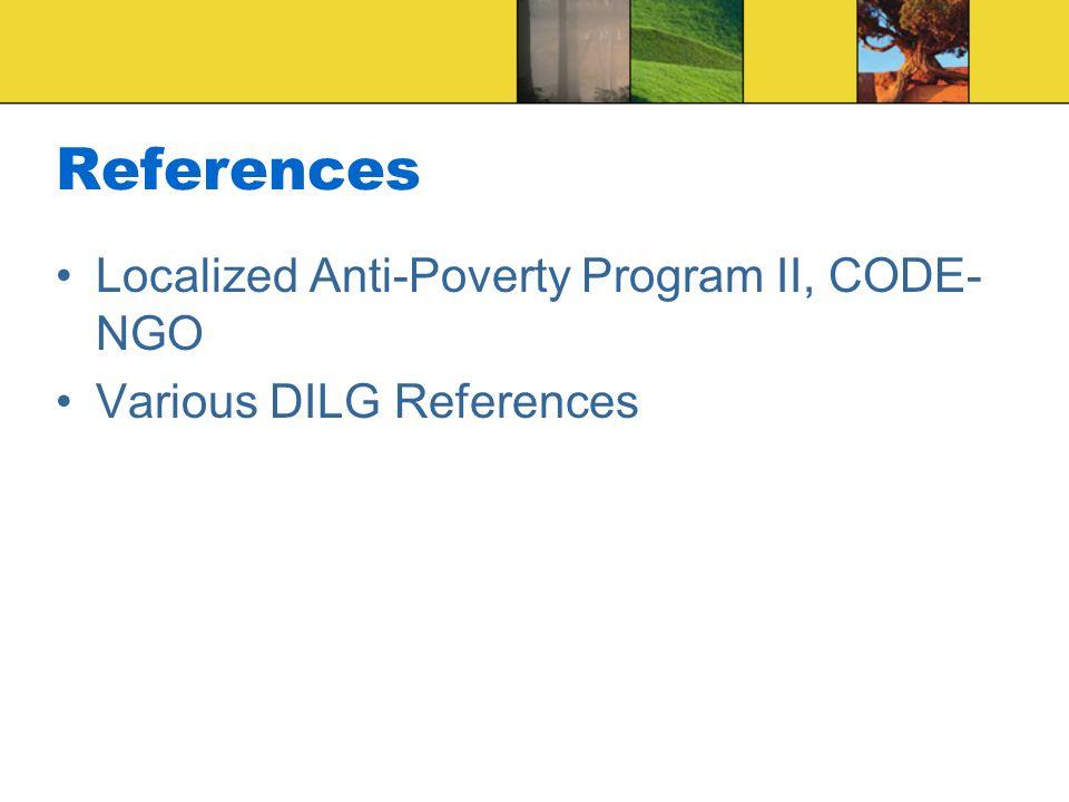 References Localized Anti-Poverty Program II, CODE-NGO