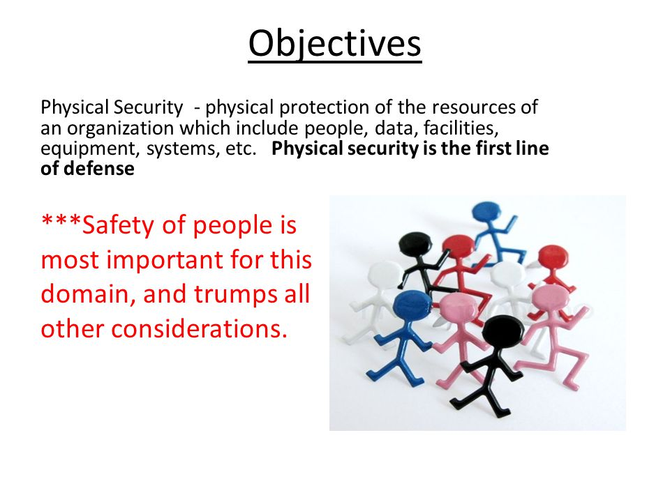 Objectives ***Safety of people is most important for this