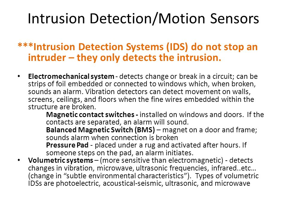 Intrusion Detection/Motion Sensors