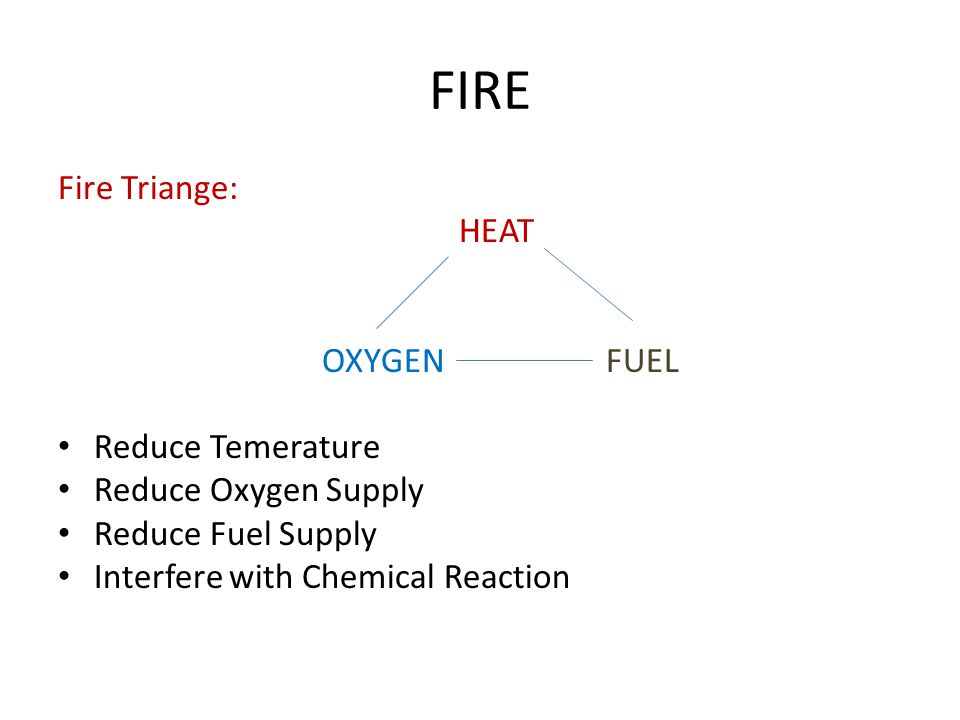 FIRE Fire Triange: HEAT OXYGEN FUEL Reduce Temerature