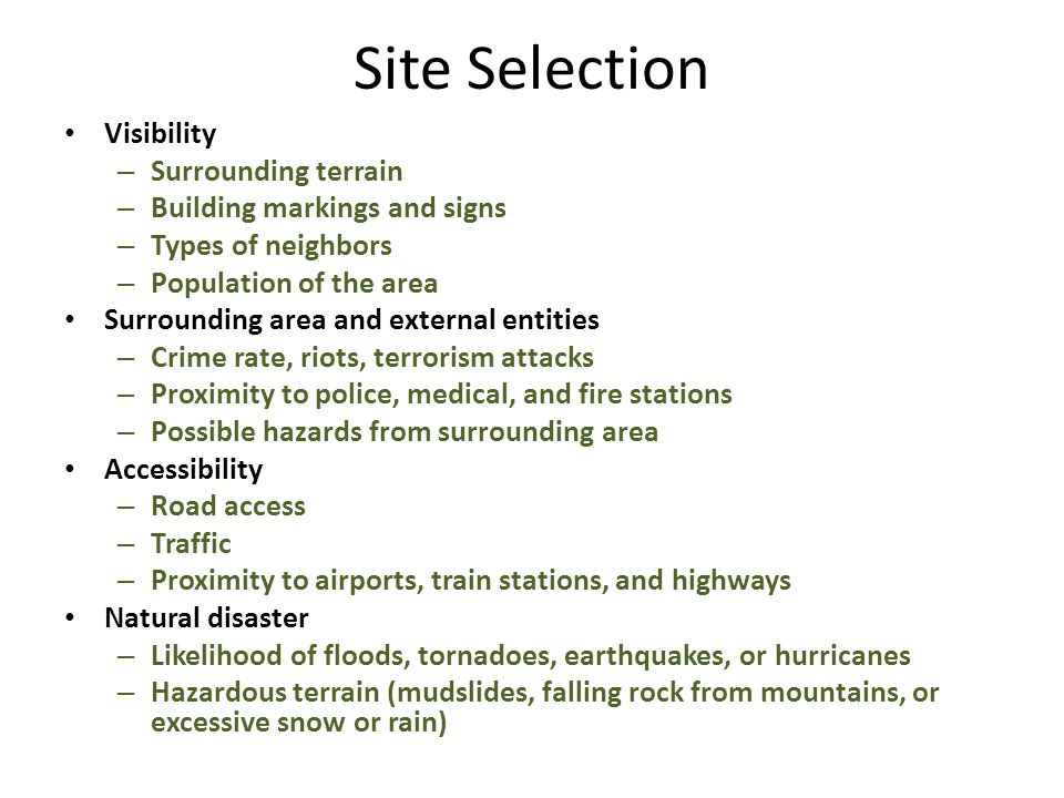 Site Selection Visibility Surrounding terrain
