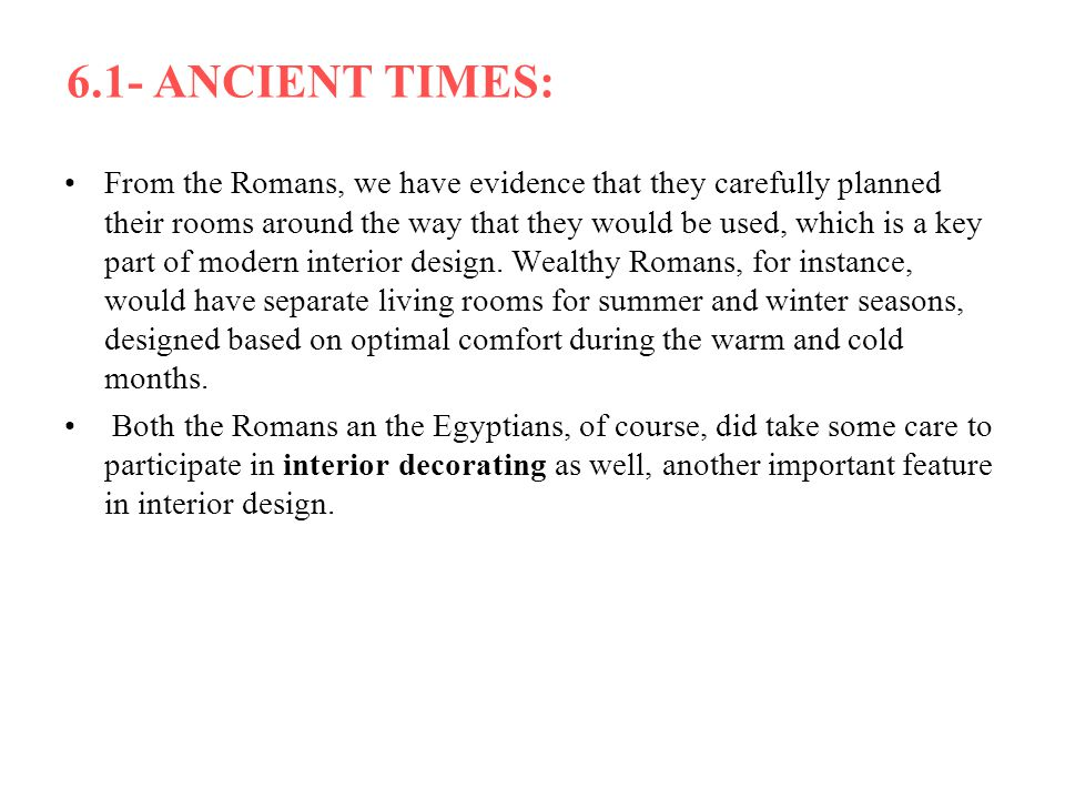6.1- ANCIENT TIMES: