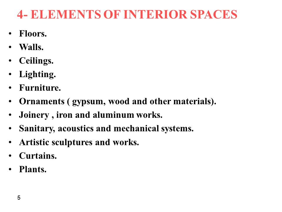 4- ELEMENTS OF INTERIOR SPACES
