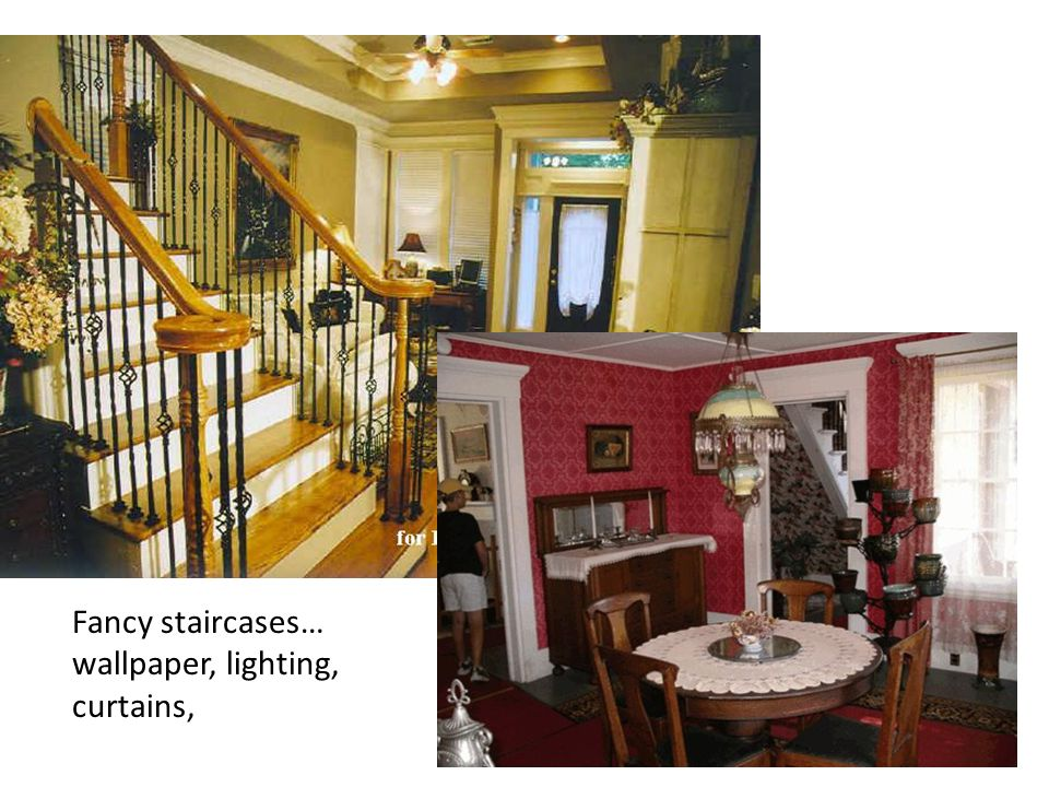 Fancy staircases… wallpaper, lighting, curtains,