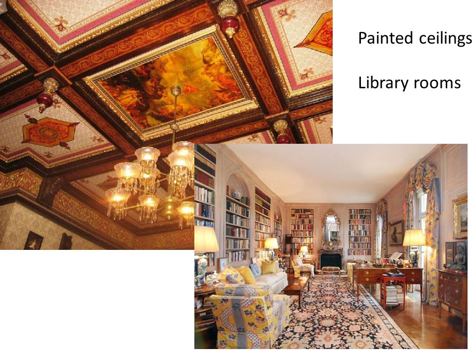 Painted ceilings Library rooms