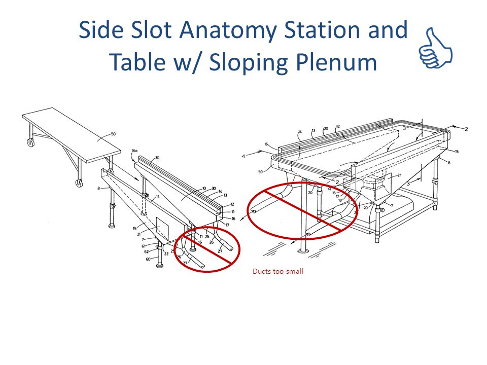 Side Slot Anatomy Station and Table w/ Sloping Plenum