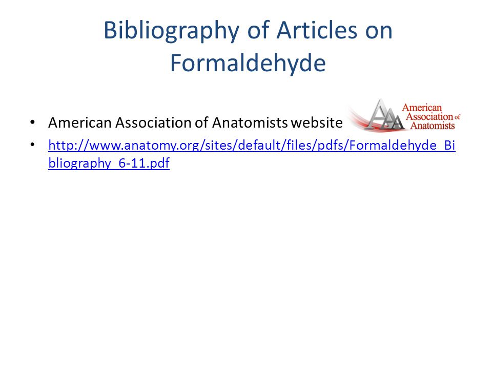 Bibliography of Articles on Formaldehyde