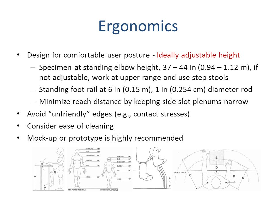 Ergonomics Design for comfortable user posture - Ideally adjustable height.