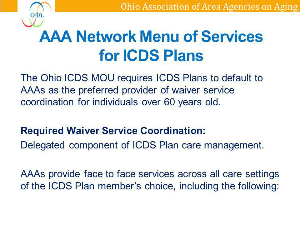 AAA Network Menu of Services for ICDS Plans