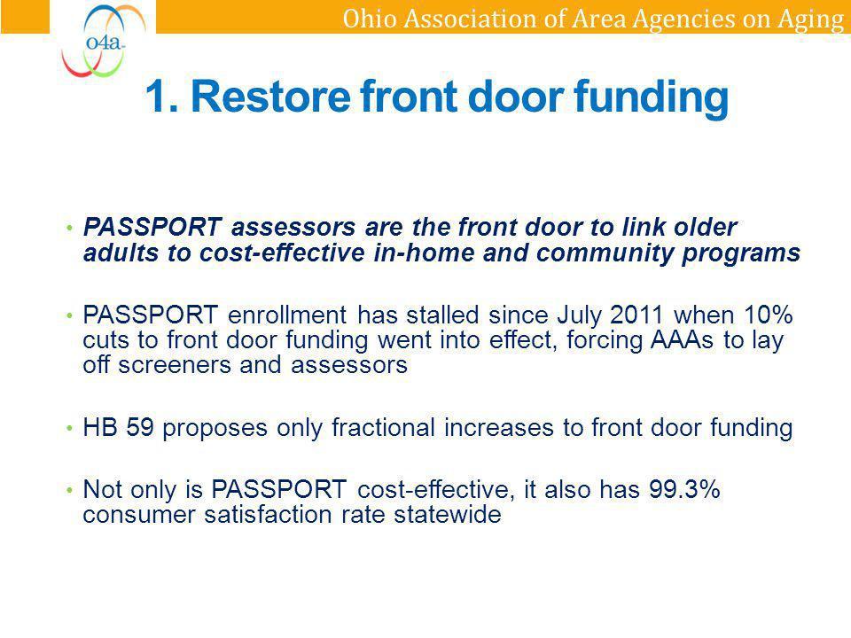 1. Restore front door funding