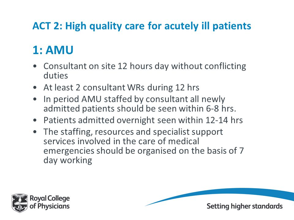 ACT 2: High quality care for acutely ill patients 1: AMU
