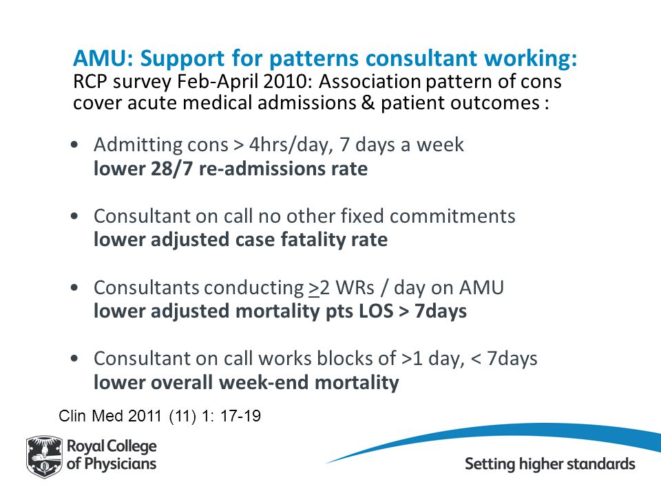 AMU: Support for patterns consultant working: RCP survey Feb-April 2010: Association pattern of cons cover acute medical admissions & patient outcomes :