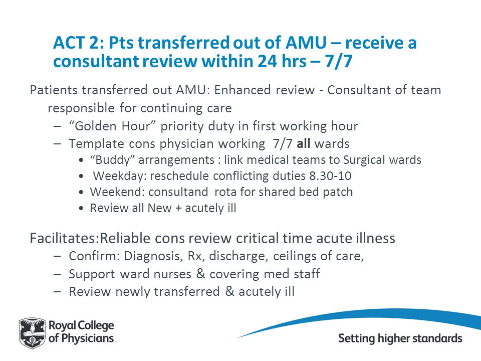 ACT 2: Pts transferred out of AMU – receive a consultant review within 24 hrs – 7/7