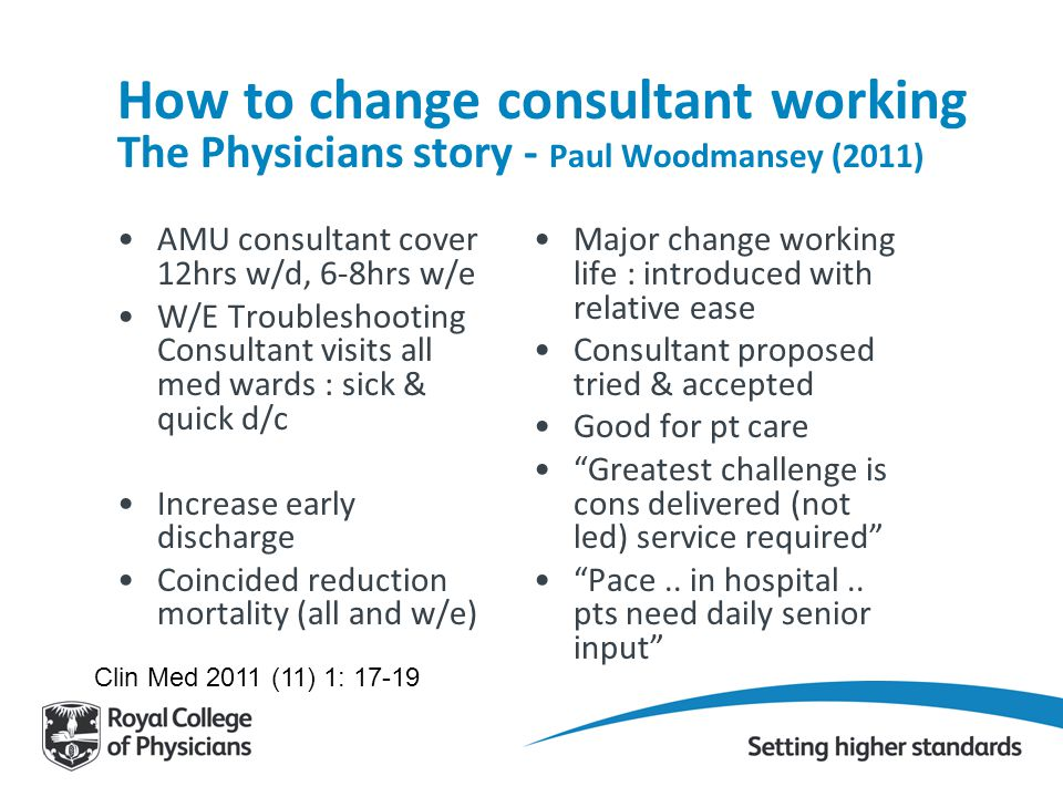 How to change consultant working The Physicians story - Paul Woodmansey (2011)