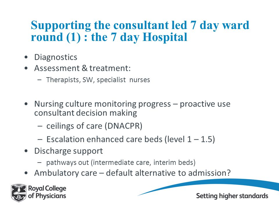 Supporting the consultant led 7 day ward round (1) : the 7 day Hospital