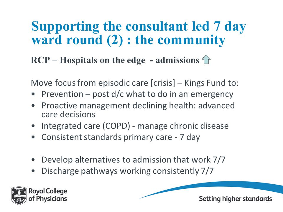 Supporting the consultant led 7 day ward round (2) : the community