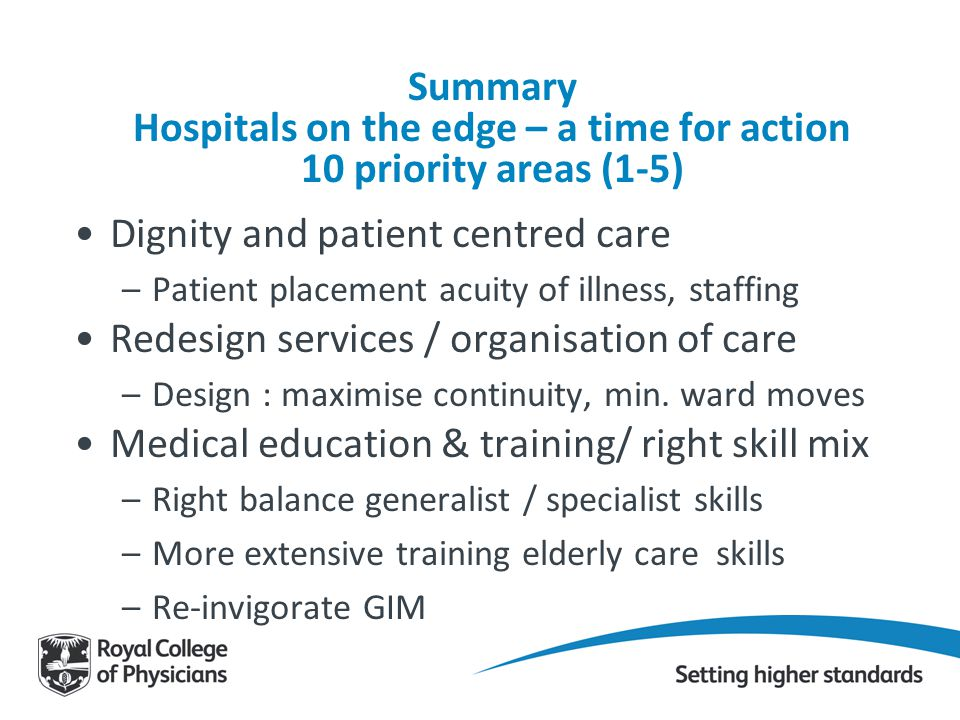 Dignity and patient centred care