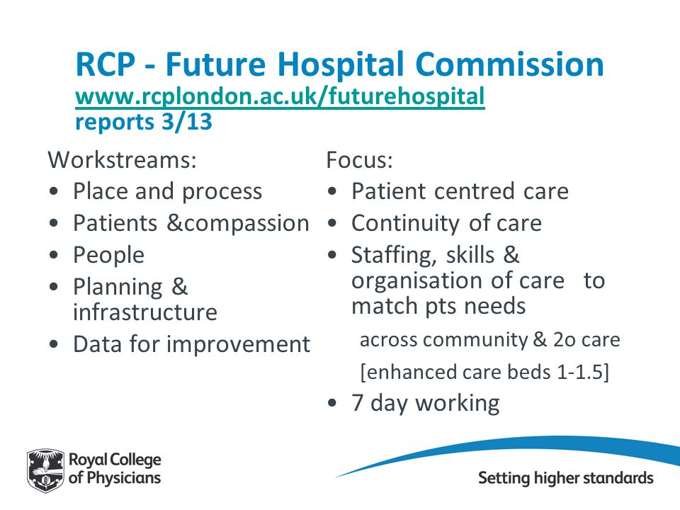 RCP - Future Hospital Commission www. rcplondon. ac