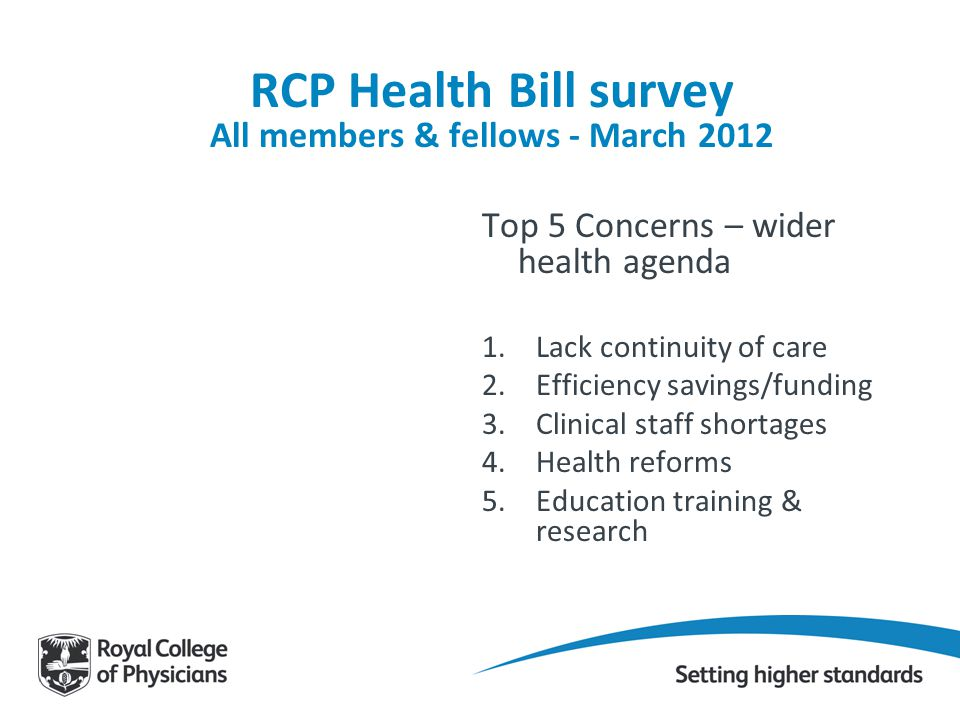 RCP Health Bill survey All members & fellows - March 2012