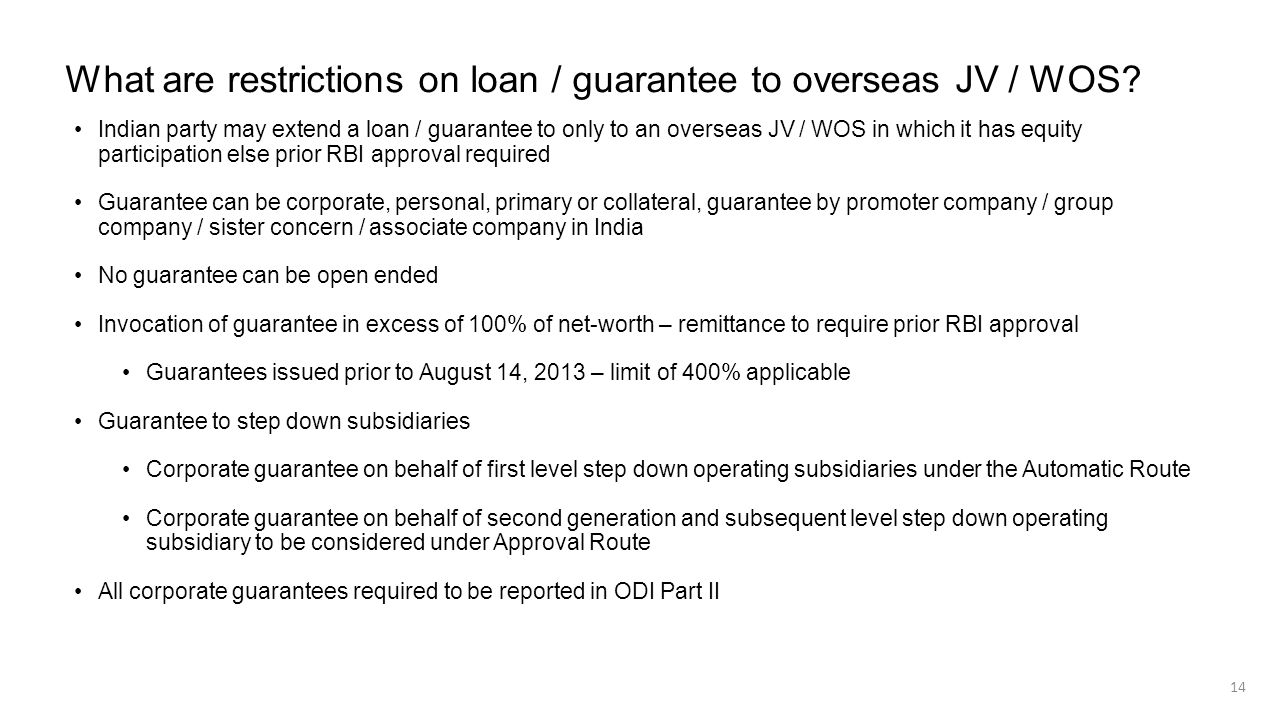 What are restrictions on loan / guarantee to overseas JV / WOS