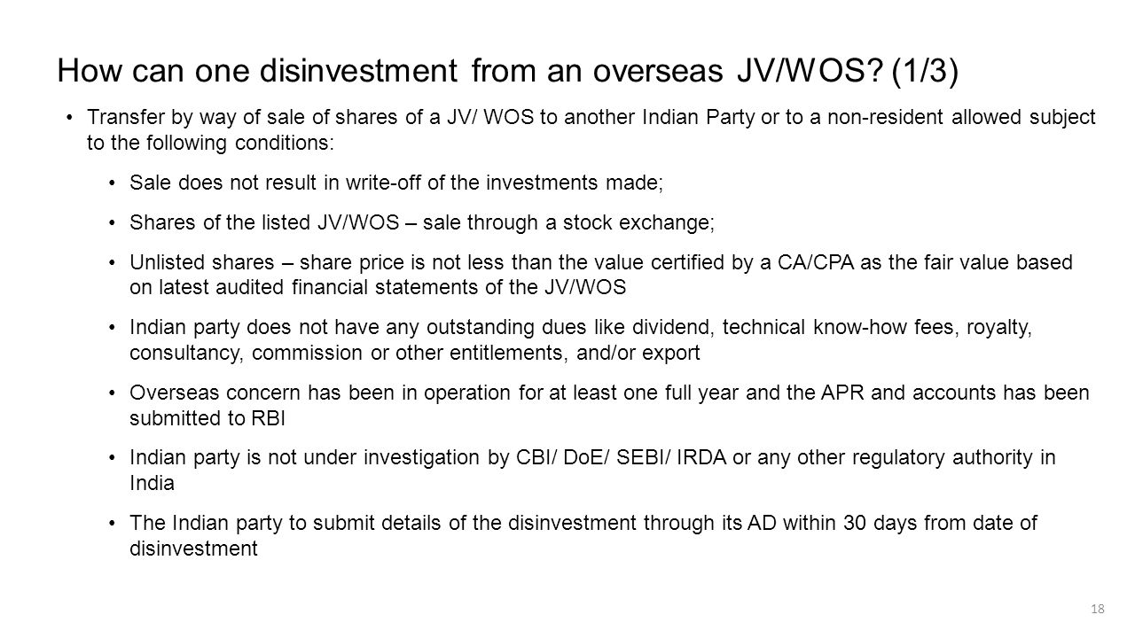 How can one disinvestment from an overseas JV/WOS (1/3)