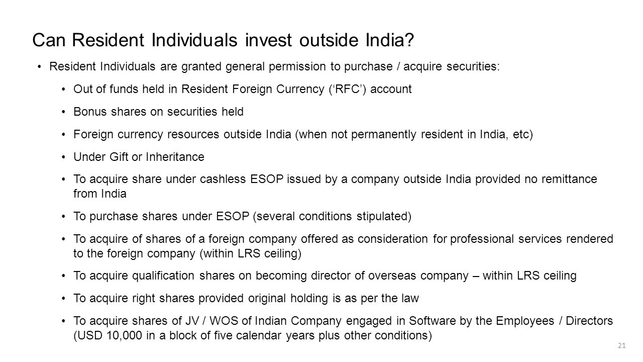 Can Resident Individuals invest outside India