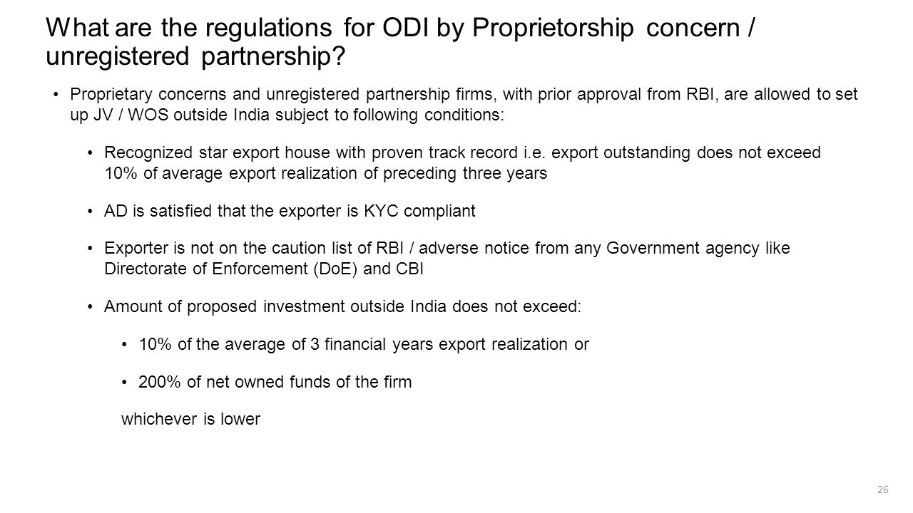 What are the regulations for ODI by Proprietorship concern / unregistered partnership