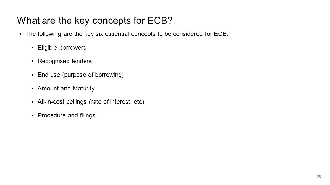 What are the key concepts for ECB