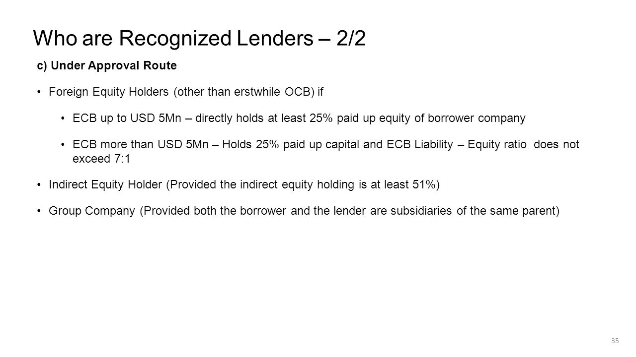 Who are Recognized Lenders – 2/2