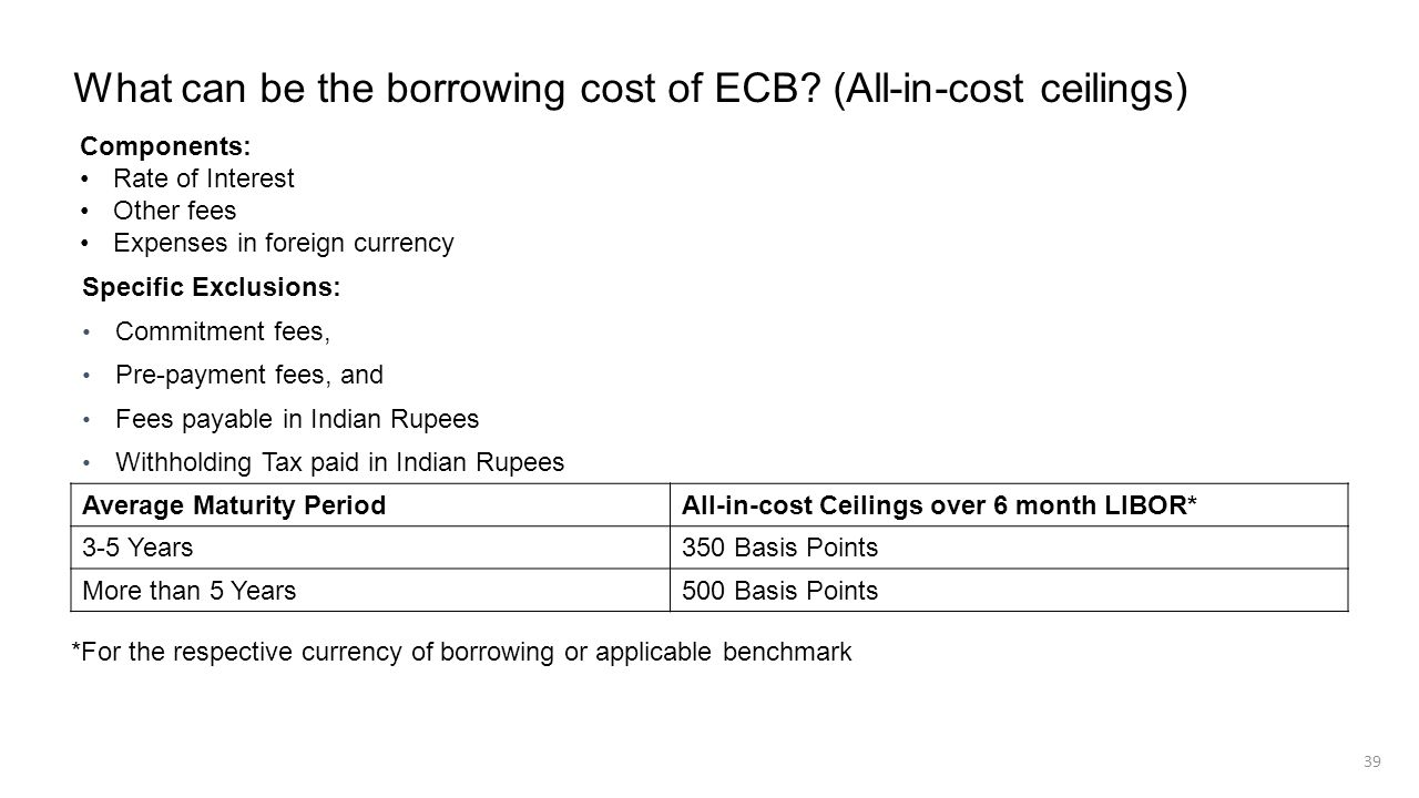 What can be the borrowing cost of ECB (All-in-cost ceilings)