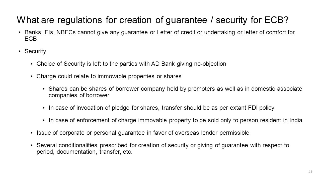 What are regulations for creation of guarantee / security for ECB