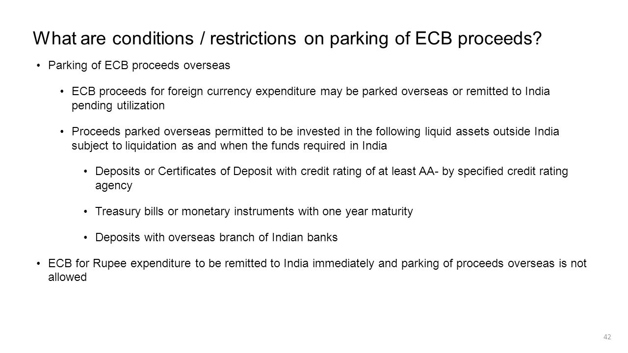 What are conditions / restrictions on parking of ECB proceeds
