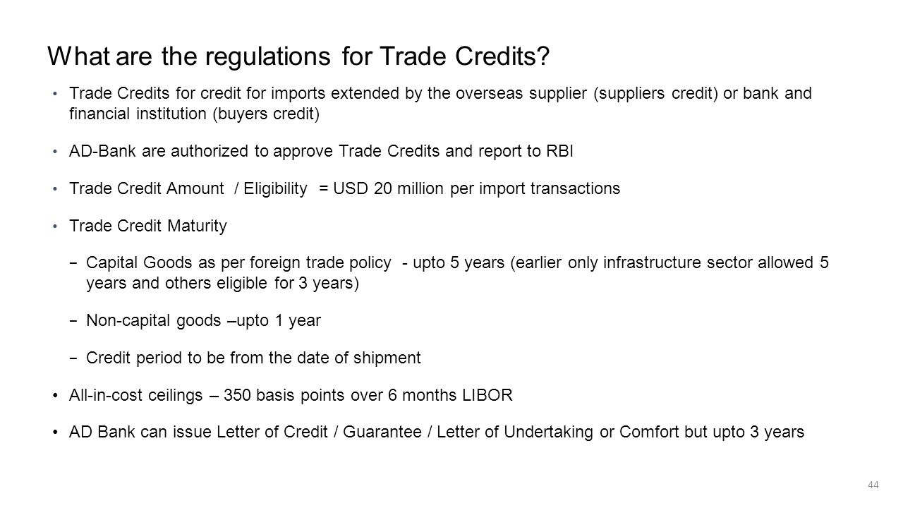 What are the regulations for Trade Credits