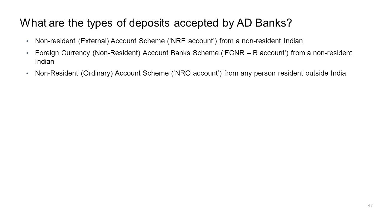 What are the types of deposits accepted by AD Banks