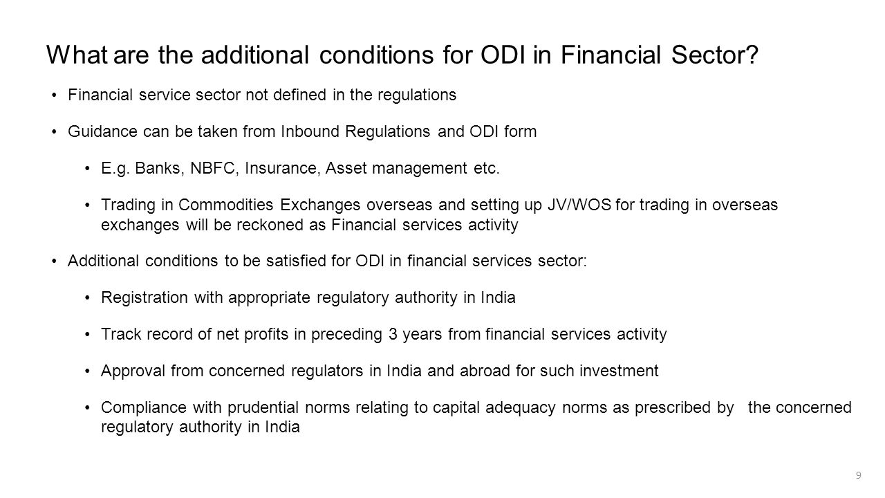 What are the additional conditions for ODI in Financial Sector