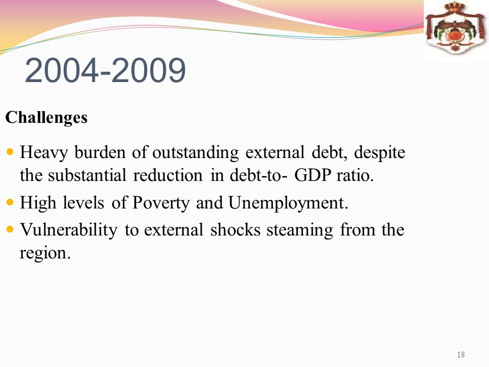2004-2009 Challenges. Heavy burden of outstanding external debt, despite the substantial reduction in debt-to- GDP ratio.