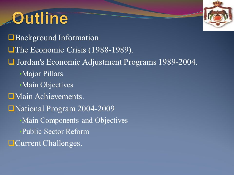 Outline Background Information. The Economic Crisis (1988-1989).
