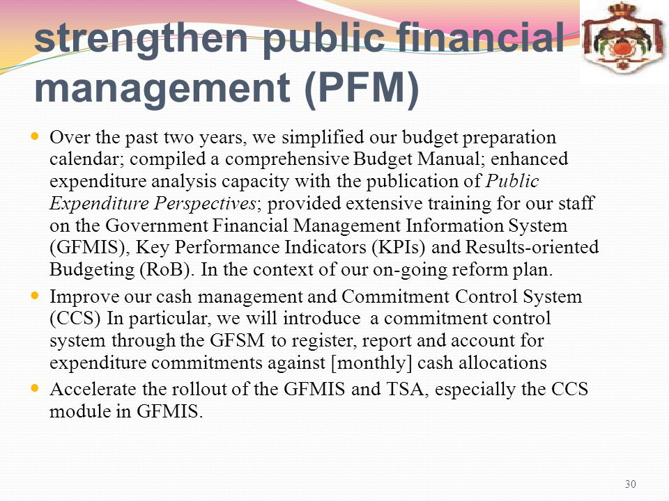 strengthen public financial management (PFM)