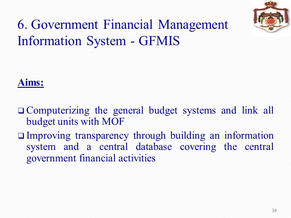 6. Government Financial Management Information System - GFMIS