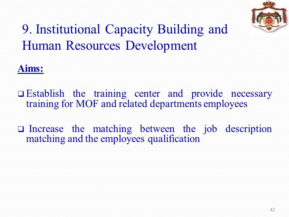9. Institutional Capacity Building and Human Resources Development