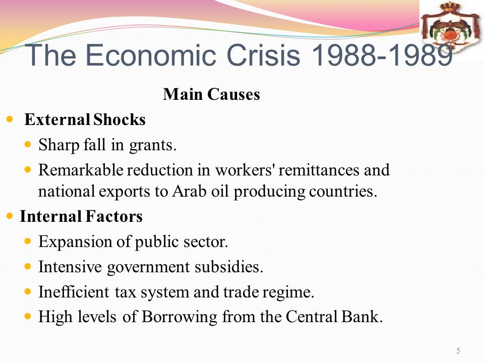 The Economic Crisis 1988-1989 Main Causes External Shocks