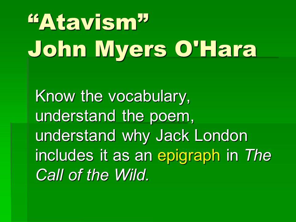 Atavism John Myers O Hara