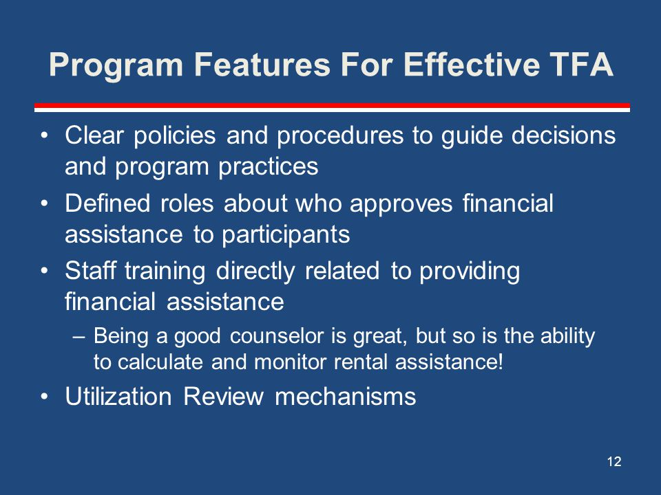 Program Features For Effective TFA