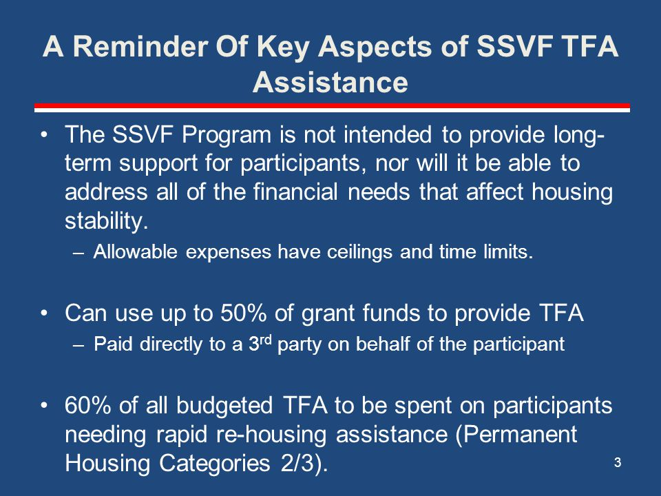 A Reminder Of Key Aspects of SSVF TFA Assistance