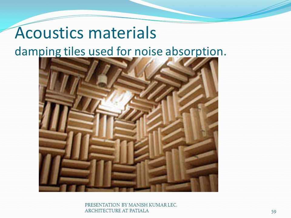 Acoustics materials damping tiles used for noise absorption.