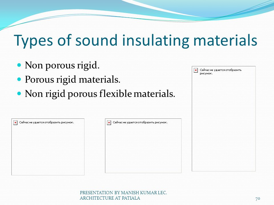 Types of sound insulating materials