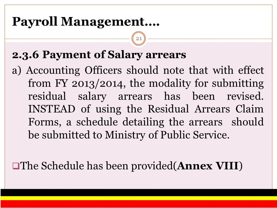 Payroll Management…. 2.3.6 Payment of Salary arrears