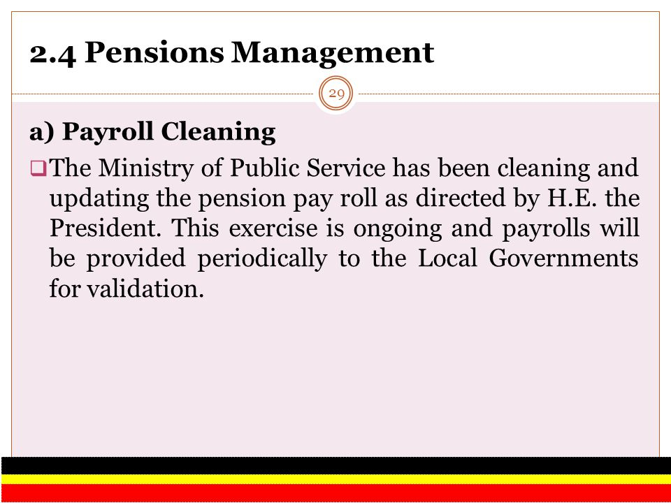 2.4 Pensions Management a) Payroll Cleaning