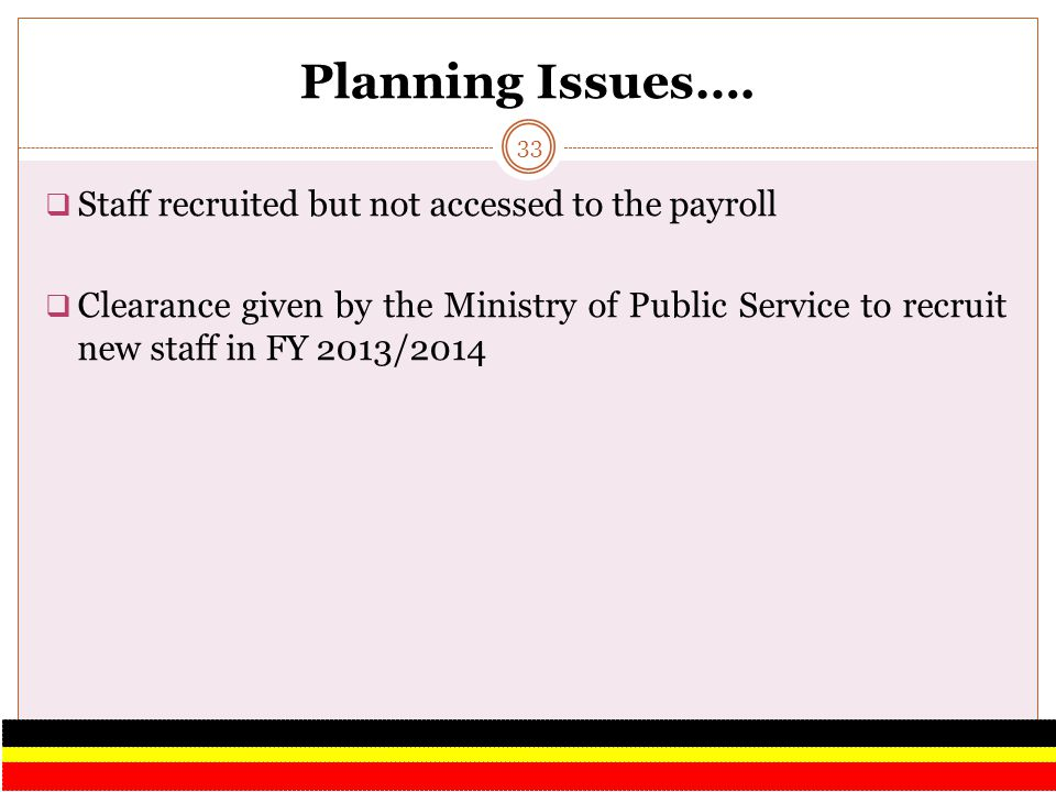 Planning Issues…. Staff recruited but not accessed to the payroll