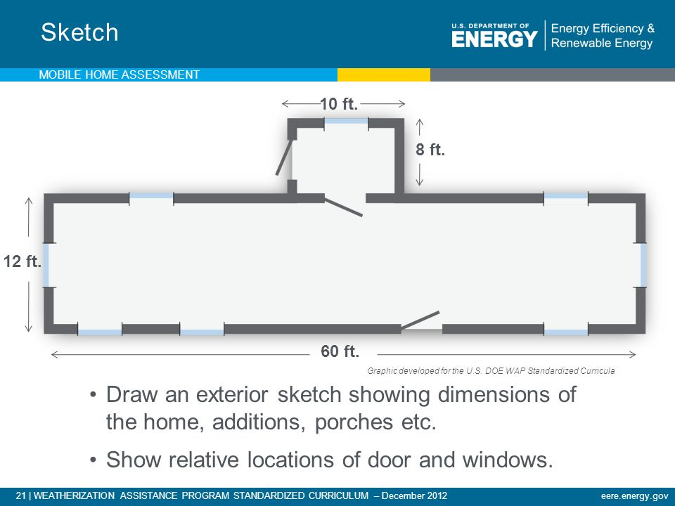 Sketch Mobile Home Assessment. 10 ft. 8 ft. 12 ft. Draw a sketch showing dimensions of the home and external features.